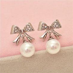 Best Jewellery - Rhinestone Bow Faux-Pearl Earrings