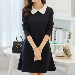 Q.C.T - Collared Long-Sleeve Dress