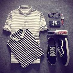 SICRIT - Short-Sleeve Striped Polo Shirt