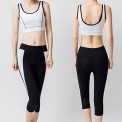 YANBOO - Yoga Set: Sports Bra + Short Sleeve Sheer Top + Capri Pants