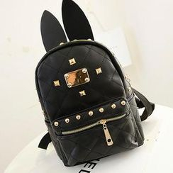 Miss Sweety - Ear-Accent Studded Faux-Leather Backpack