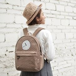 SUPER LOVER - Clock Print Polke Dot Lightweight Backpack