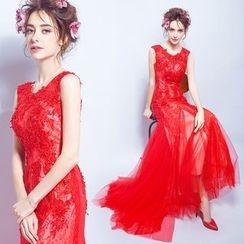 Angel Bridal - 蕾丝钉珠鱼尾晚礼服裙