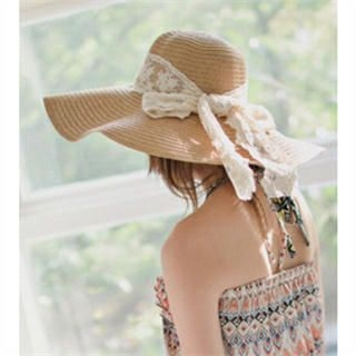 GOROKE - Lace Bow-Accent Sun Hat