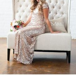 Charlotte - Sequined Open Back Cap Sleeve Sheath Evening Gown