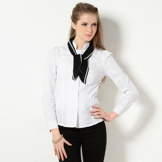YesStyle Z - Mandarin Collar Blouse with Detachable Tie
