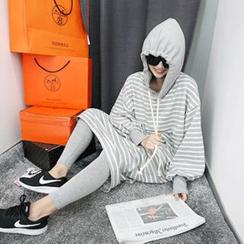 MARSHMALLOW - Maternity Slit-Side Hooded Stripe Maxi Dress