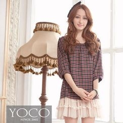 Tokyo Fashion - 3/4-Sleeve Lace-Trim Plaid Top