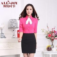 OJOY - Set: Elbow-Sleeve Pintuck Shirt + Pencil Skirt