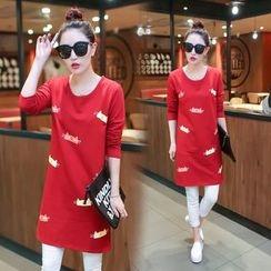 Century Girl - Cat Print Long-Sleeve Dress