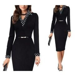Forest Of Darama - Polka Dot Panel Sheath Dress with Belt