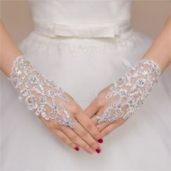 Merone - Rhinestone Crochet Wedding Gloves