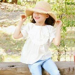 Cuckoo - Kids Ruffle Trim Short-Sleeve Top