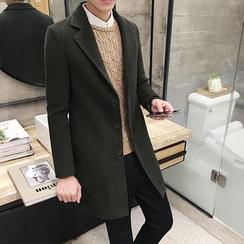 EVAMORE - Notch Lapel Long Woolen Coat