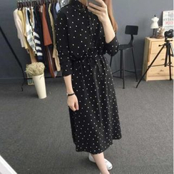 Ranche - Long-Sleeve Dotted Midi Dress