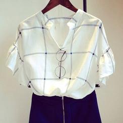 氣質淑女 - 短袖格子襯衫