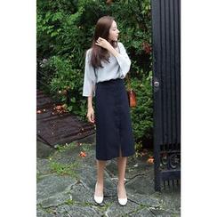 CHERRYKOKO - Button-Front Midi Skirt