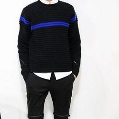 Mr. Cai - Contrast-Stripe Perforated Sweater