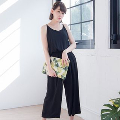 Tokyo Fashion - Sleeveless Spaghetti-Strap Plain Jumpsuit