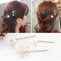 Koi Kawaii - Flower Faux Pearl Hair Pin (3pcs)