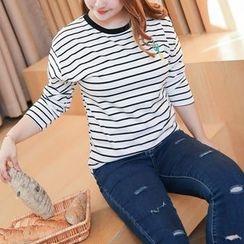 Amizi - Long-Sleeve Striped Embroidered T-Shirt