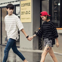 Evolu Fashion - Couple Matching 3/4-Sleeve Striped T-Shirt