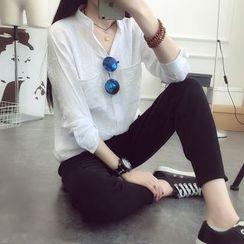 蘭芝 - 純色立領襯衫