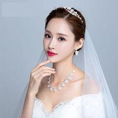 Puru Lia - Embellished Wedding Tiara / Necklace / Earrings Set
