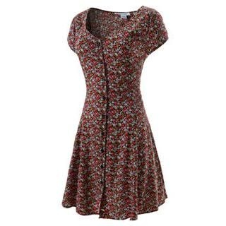 TheLeesW - Floral-Pattern Button-Front Cap-Sleeve Dress