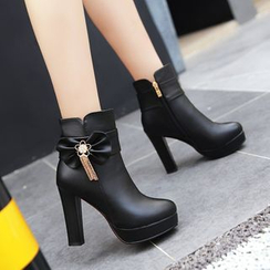 Pretty in Boots - Bow High-Heel Ankle Boots