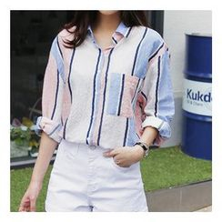 trendedge - Pocketed Striped Shirt