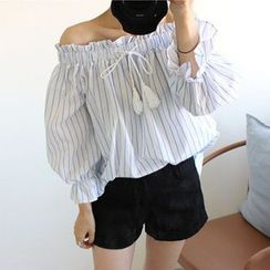 trendedge - Striped Tasseled Tie Front Off Shoulder 3/4 Sleeve Top