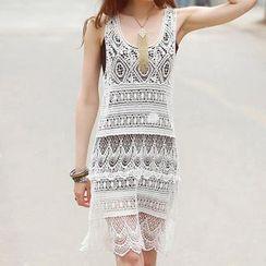 LANYI - Perforated Knit Tank Dress