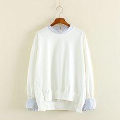 Mushi - Striped Mock Two-Piece Sweatshirt