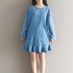 Snow Flower - Frill Hem Long-Sleeve Denim Dress