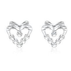 MaBelle - 14K White Gold Dainty Heart Diamond-Cut Earrings (7MM)