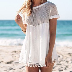 Sunset Hours - Mesh Panel Fringe Hem Cover-Up