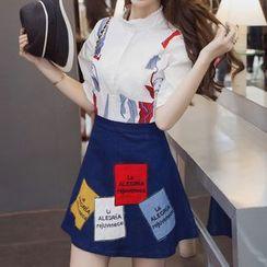 LunarS - 套裝: 中袖刺繡襯衫 + 印花牛仔裙