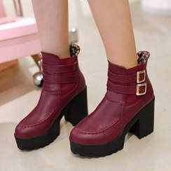 Tomma - Platform Block Heel Strapped Short Boots