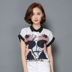 LunarS - Short-Sleeve Print Chiffon Polo Shirt