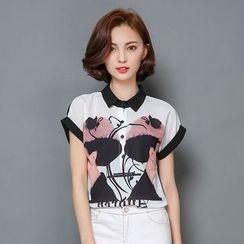 LunarS - 短袖印花雪紡馬球衫