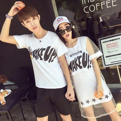 TOOI - Couple Matching Lettering Short Sleeve T-Shirt/ Set: Short Sleeve Mesh Dress + Tank Dress