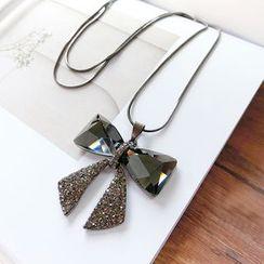 Gold Beam - Rhinestone Bow Pendant Necklace