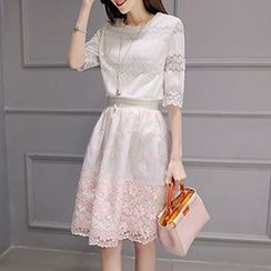 Lavogo - Set: Elbow-Sleeve Lace Top + Skirt