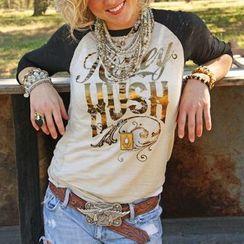 丽贝卡 - 烫金印字插肩七分袖T恤