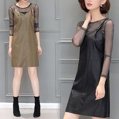 Lavogo - Set: Mesh Long-Sleeve Top + Faux Leather Pinafore Dress