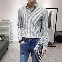 YONDER - 长袖刺绣条纹衬衫