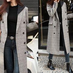 NIPONJJUYA - Peaked-Lapel Wool Blend Plaid Long Coat