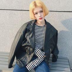 Miss Kekeli - Faux Leather Biker Jacket
