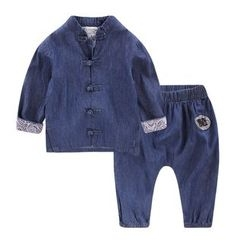 lalalove - Kids Set: Mandarin Collar Frog Button Shirt + Pants